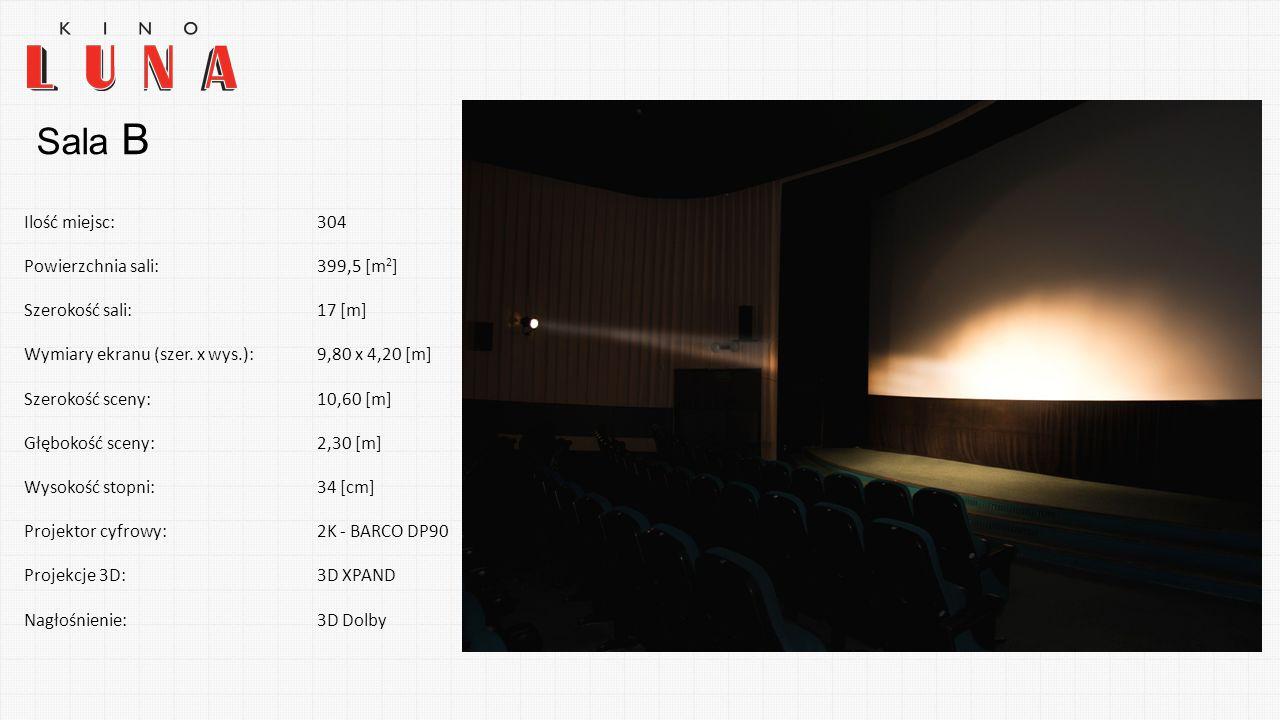 Sala B Ilość miejsc: 304 Powierzchnia sali: 399,5 [m2] Szerokość sali:
